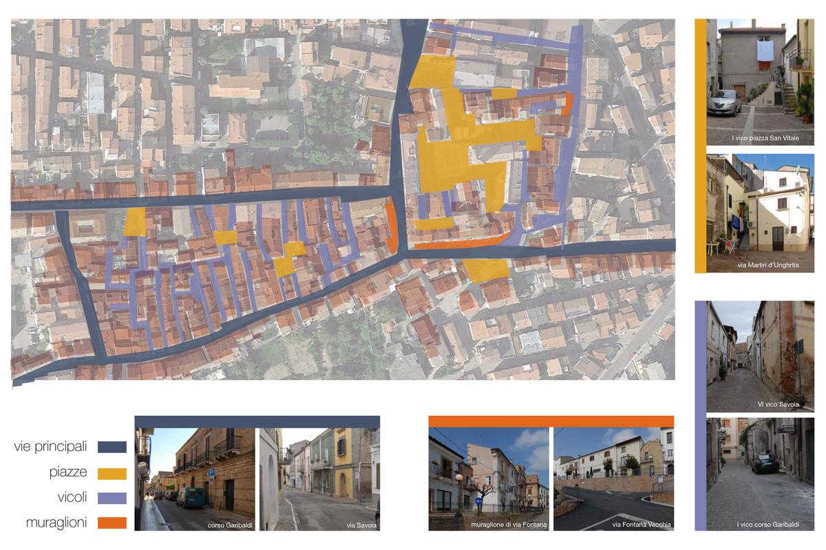 Analisi vie principali e piazze per progetto di recupero e conservazione centro storico del comune di San Salvo