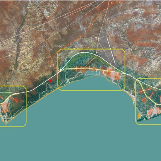 Vista satellitare della costa dell'Angola con indicate le zone di interesse del piano turistico di Sangano e Cabo Lebo